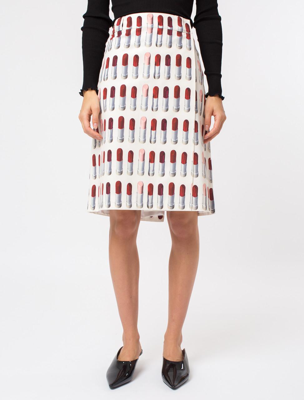 Lipstick Print Poplin Skirt