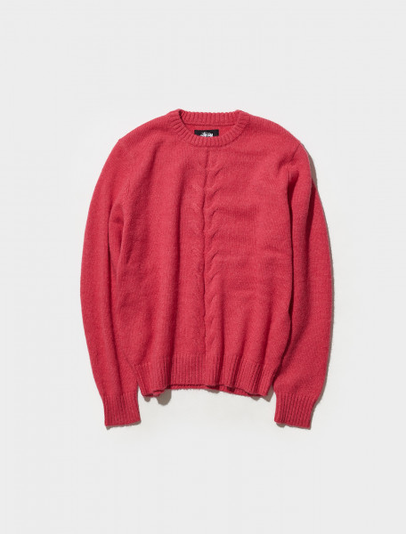 117096 0604 STÜSSY DOUBLE CABLE KNIT SWEATER IN PINK