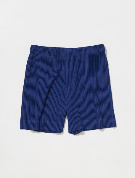 HP18JF142 72 HOMME PLISSÉ ISSEY MIYAKE PLEATED SHORTS IN BLUE GREY