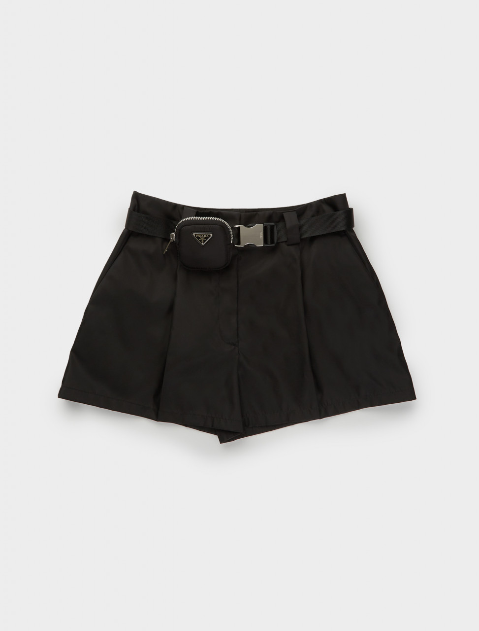 Re-Nylon Belted Shorts in Black
