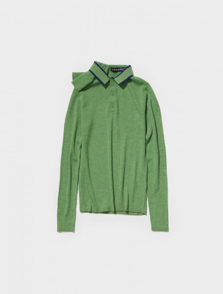 MPULL61 S21 Y30 Y PROJECT DOUBLE NECK KNIT POLO IN KELLY GREEN & NAVY