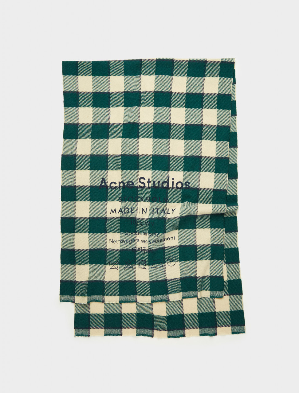 110-CA0026-BY5 ACNE STUDIOS CHECKED LOGO SCARF GREEN OATMEAL