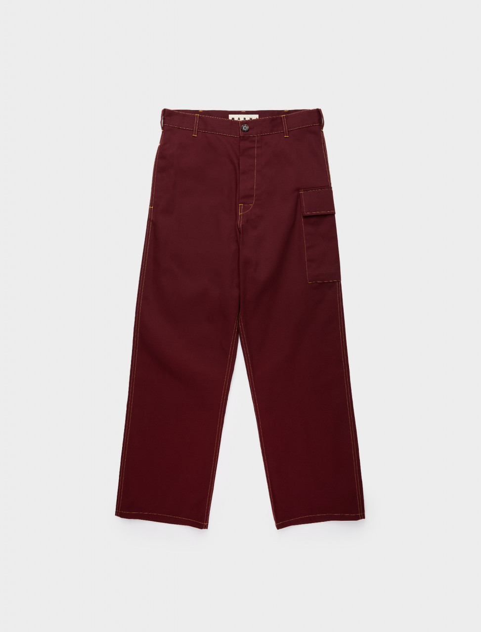 137-PUMU0095A0-S53292-00R82 MARNI CONTRAST STITCH POCKET TROUSER RUBY