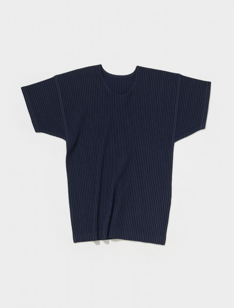 HP18JK020 75 HOMME PLISSÉ ISSEY MIYAKE PLEATED T SHIRT IN NAVY