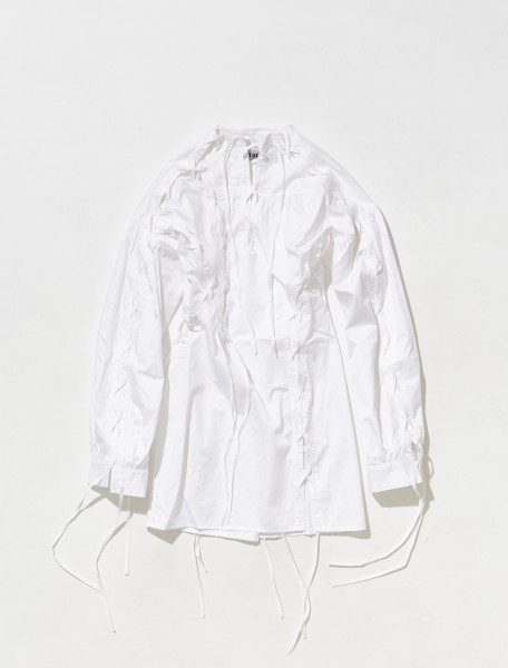 1100102_WHITE OTTOLINGER LACE UP MINI DRESS IN WHITE