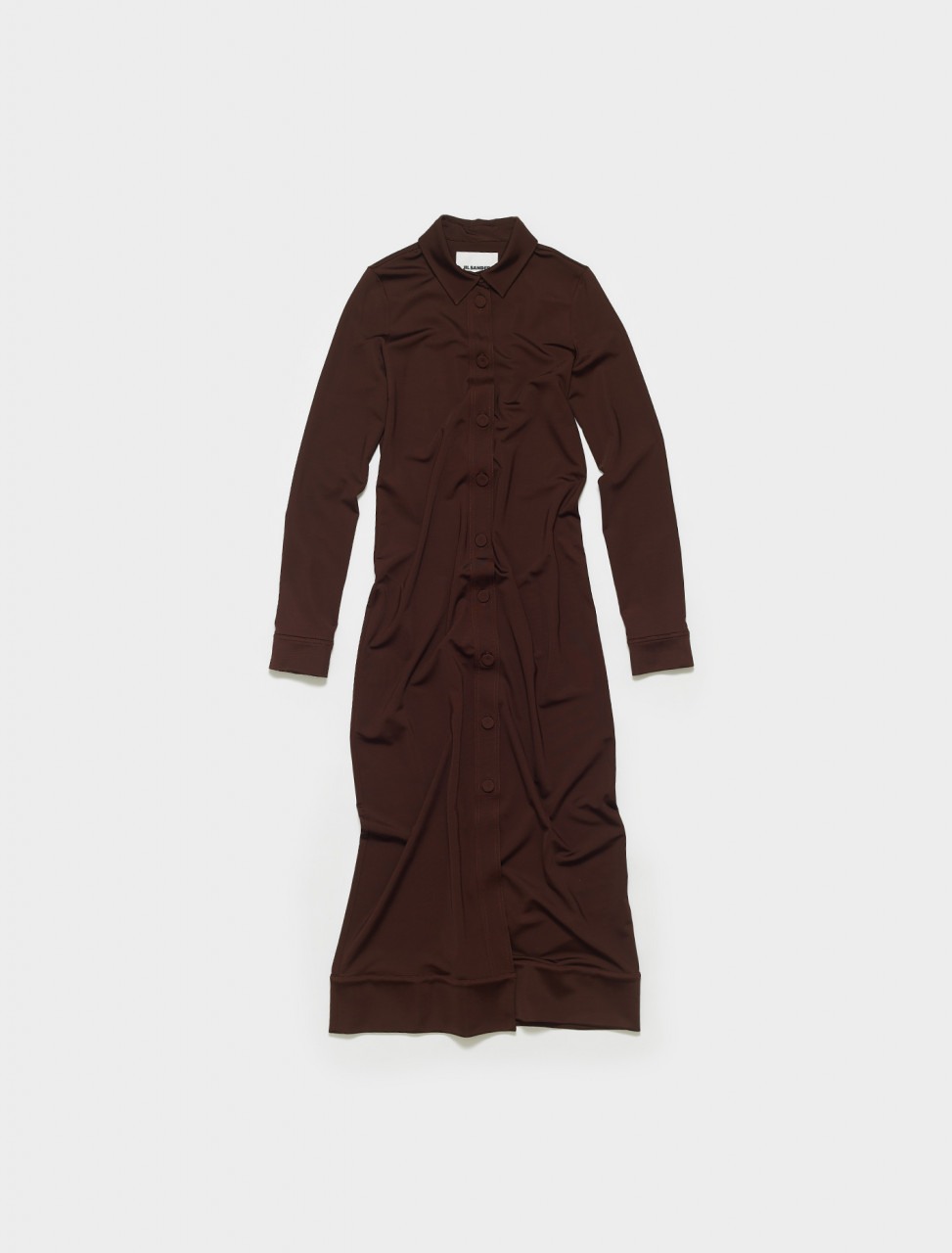 JSWS710301-WS397908-210 JIL SANDER BUTTON FRONG LONG GOWN BROWN