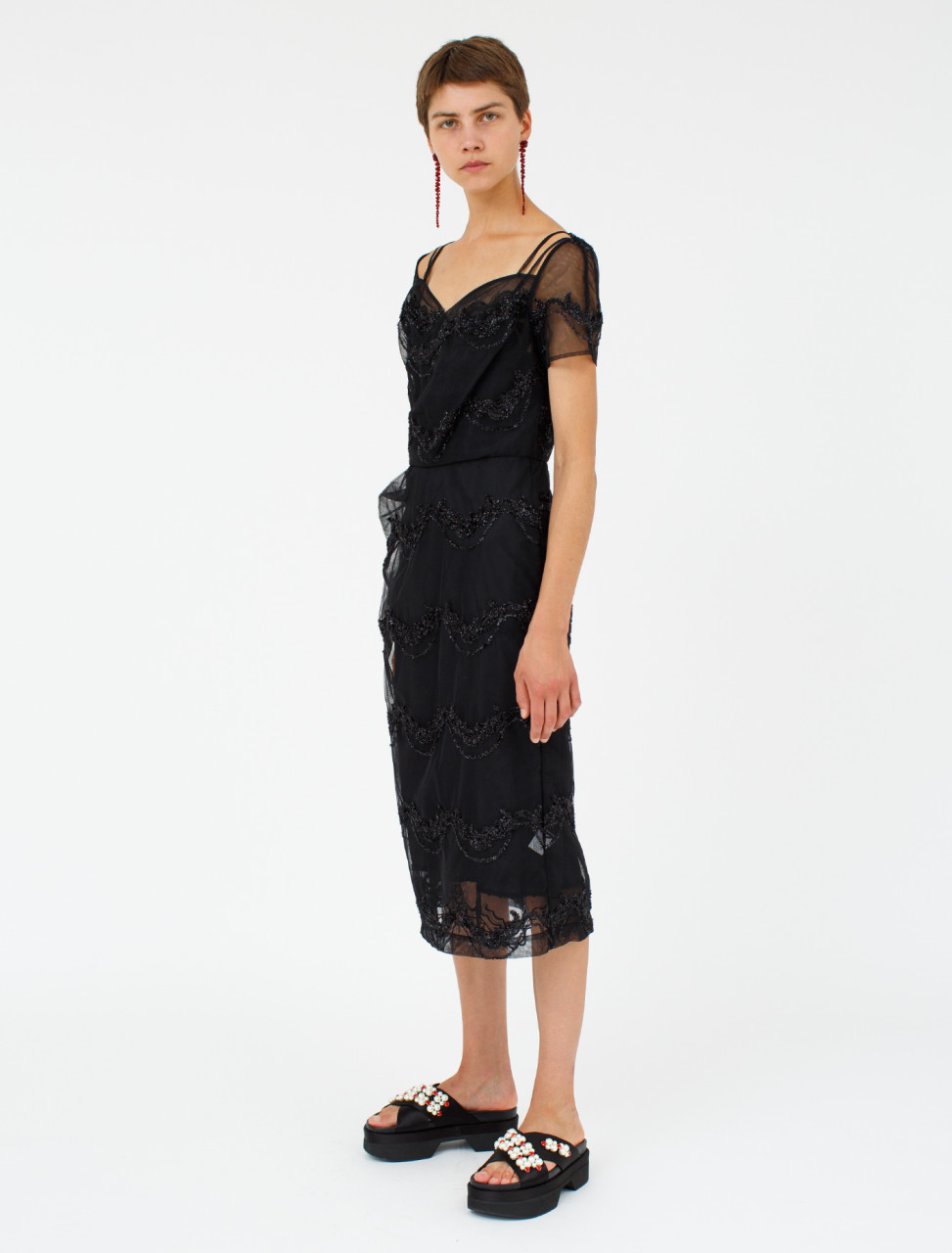 Simone Rocha Side Tuck Tulle Dress