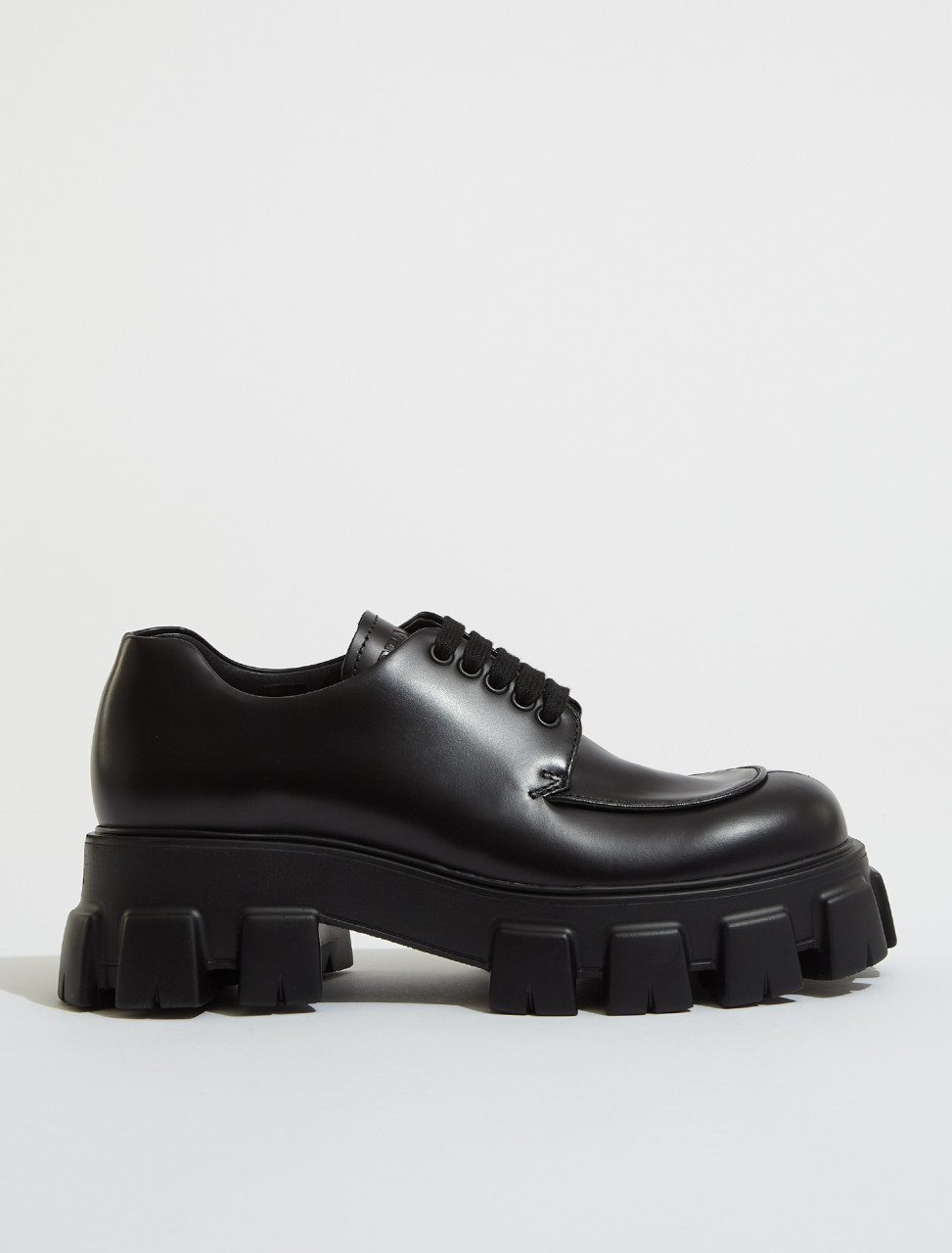 2EE356_B4L_F0002 PRADA MONOLITH BRUSHED LEATHER LACE UP SHOES IN BLACK