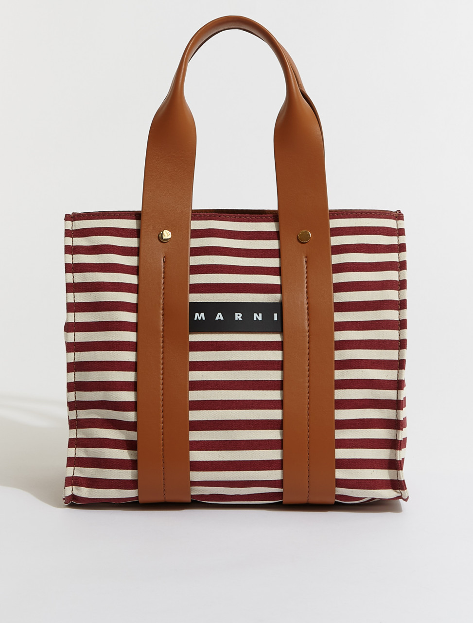 SHMP0048Q0-Z2N61 MARNI STRIPED SHOPPING BAG IN RED WHITE