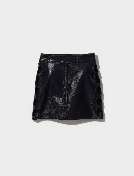 321CJU025VY0003 9999 COURRÈGES MINI SKIRT WITH CUT OUT DETAIL IN NOIR