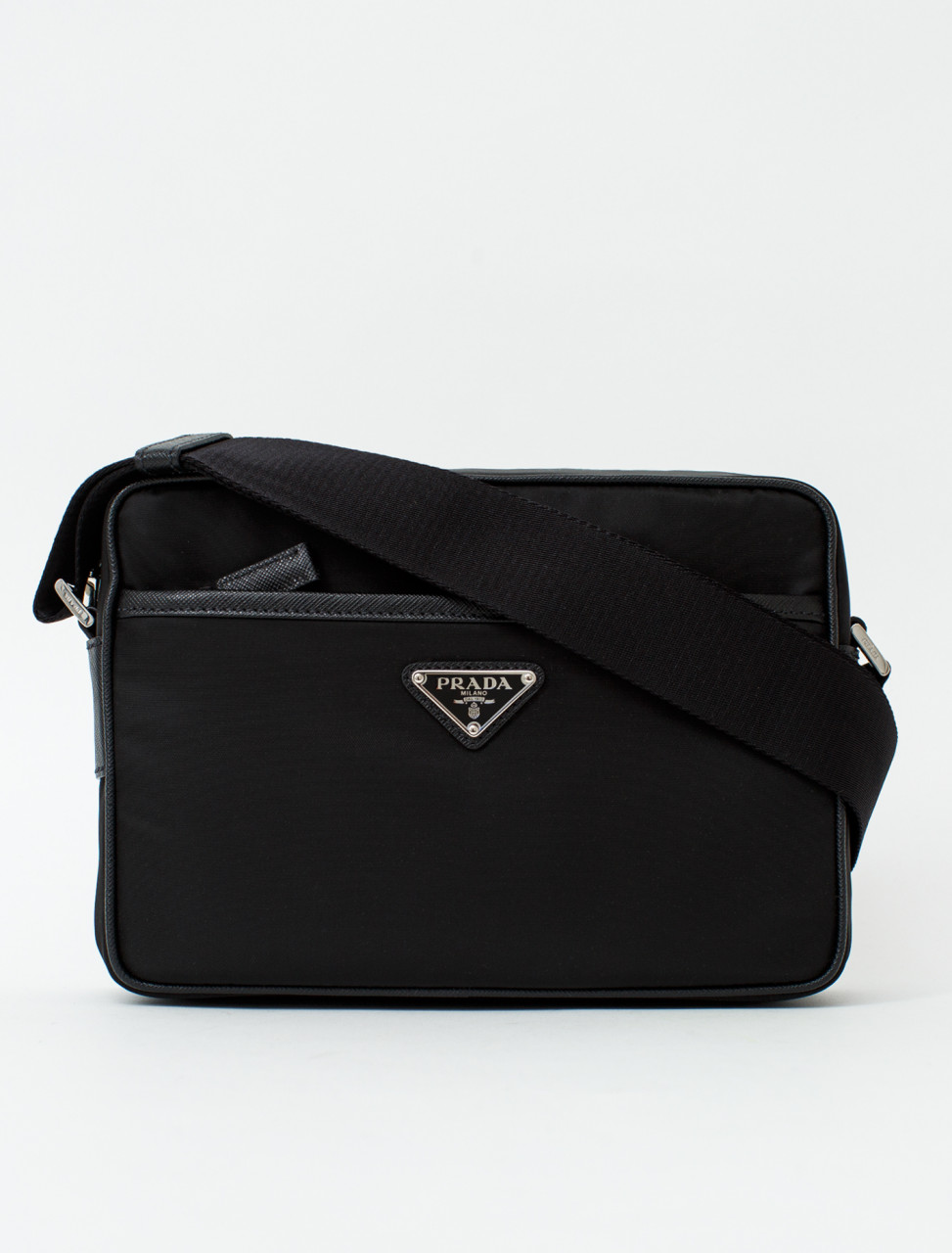 Nylon Bag with Leather Trim