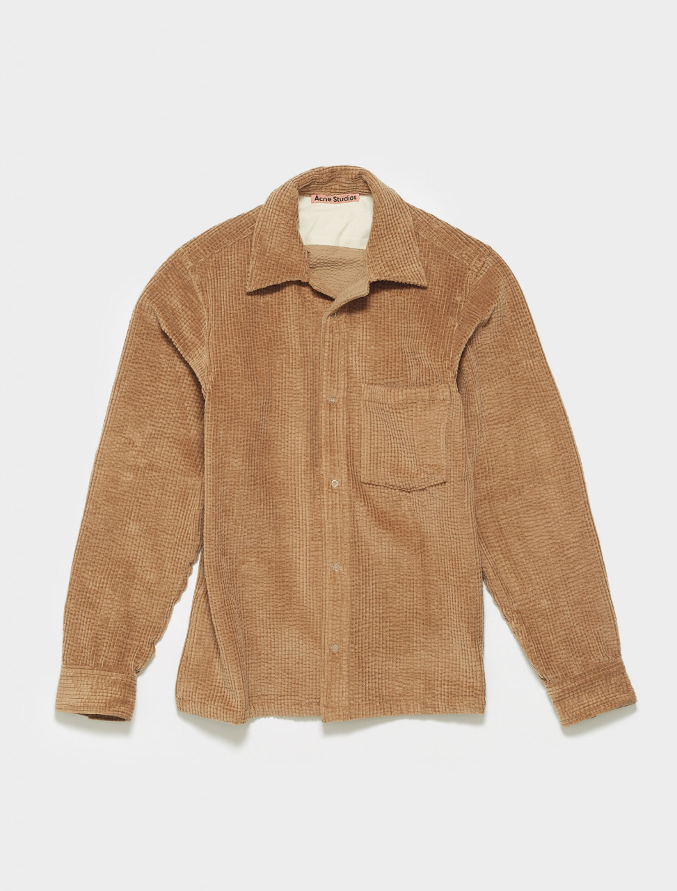 BB0307-640 ACNE STUDIOS DENVER CORD SHIRT IN CAMEL BROWN