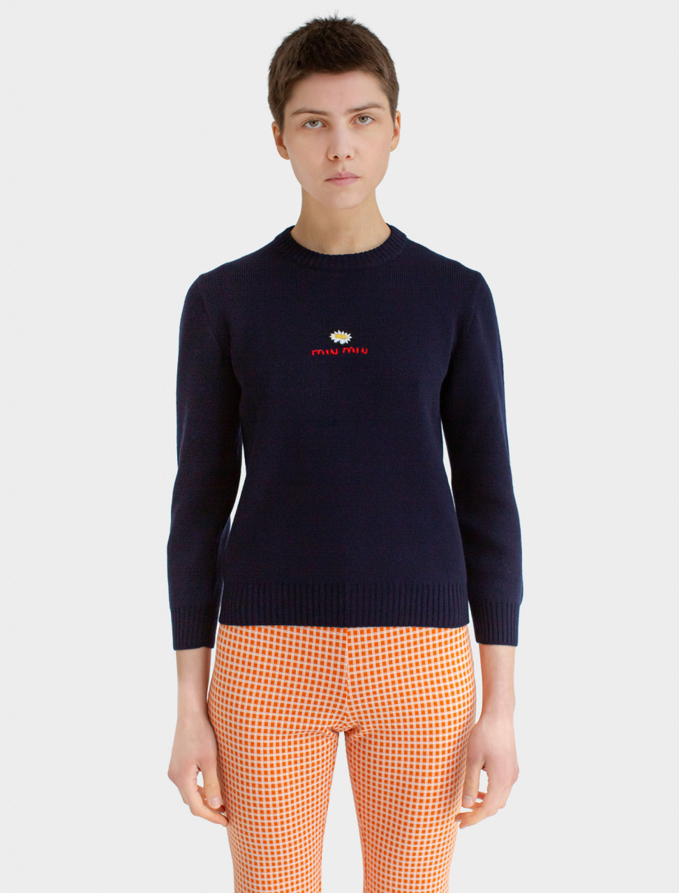 Lambswool Pullover with Embroidered Daisy Motif
