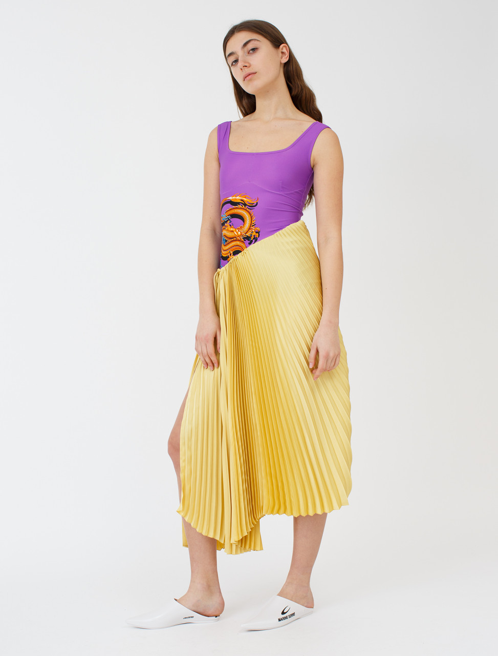 Marine Serre Hybrid Falling Sun-Pleated Dress