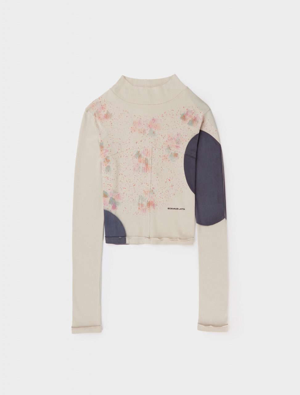 Front view of Eckhaus Latta Lapped Baby Turtle Neck