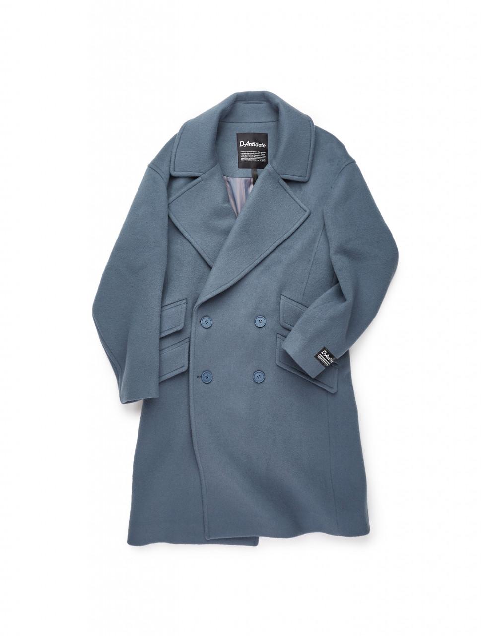 351-D20FWCT004U D-ANTIDOTE DA OVERSIZED BASIC COAT FOG BLUE