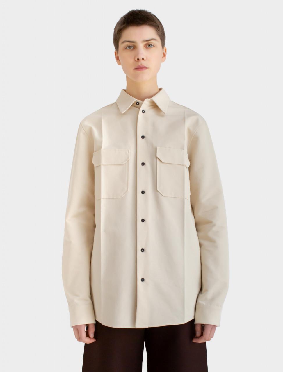 Cotton Faille Shirt in Light Beige