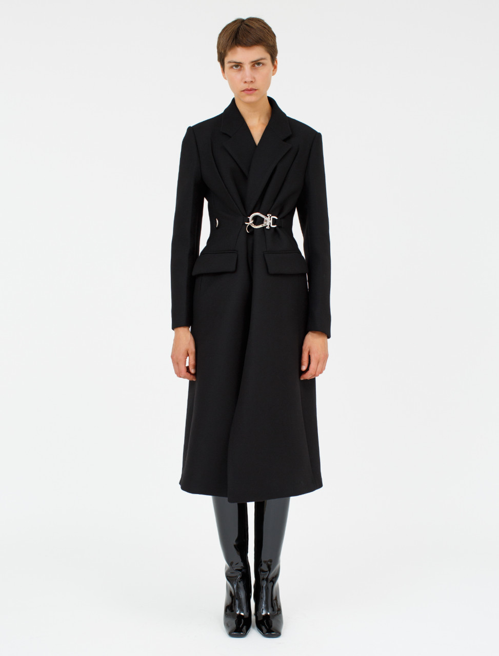 Double Cloth Coat with Hardware Closure