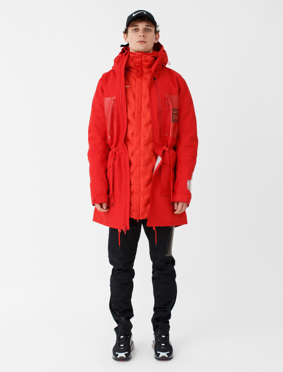 x Undercover Fish-Tail Parka in Sport Red