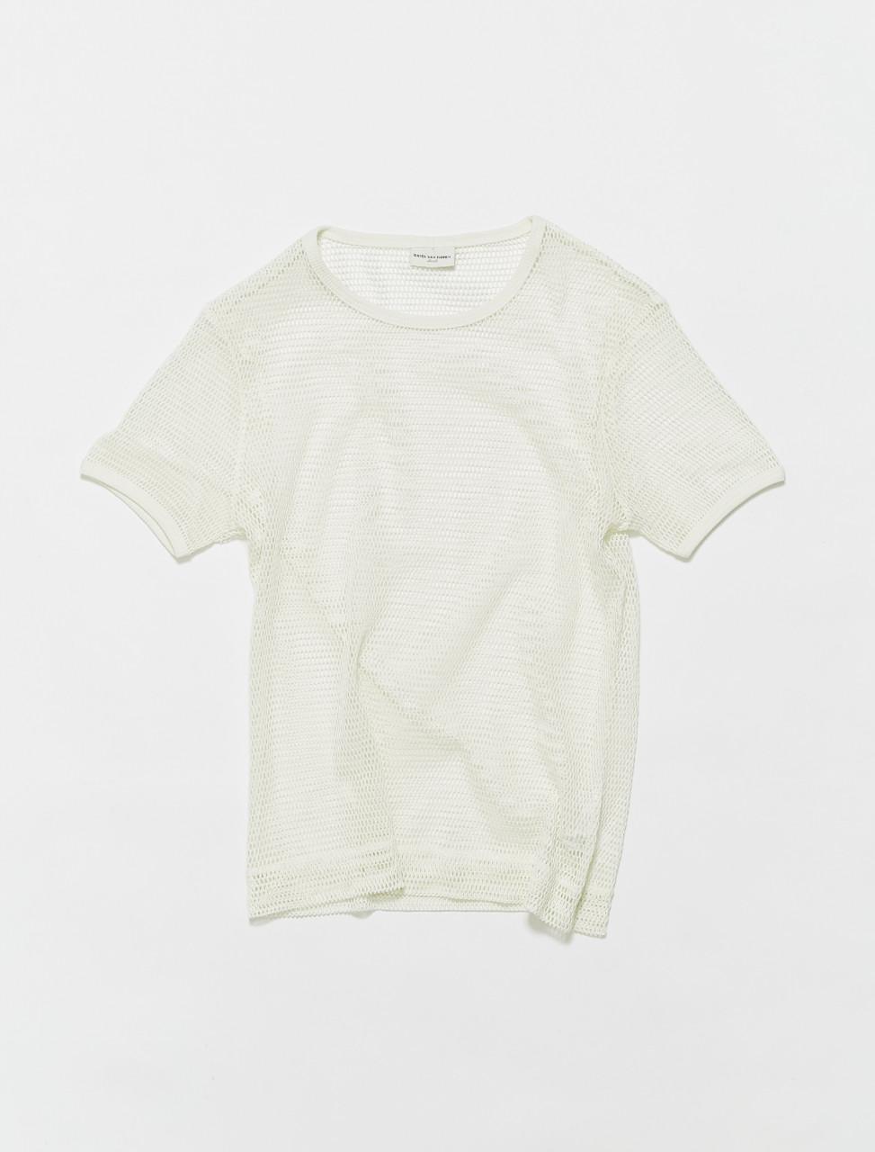 211-21115-2616-001 DRIES VAN NOTEN HADAL SHEER T SHIRT WHITE