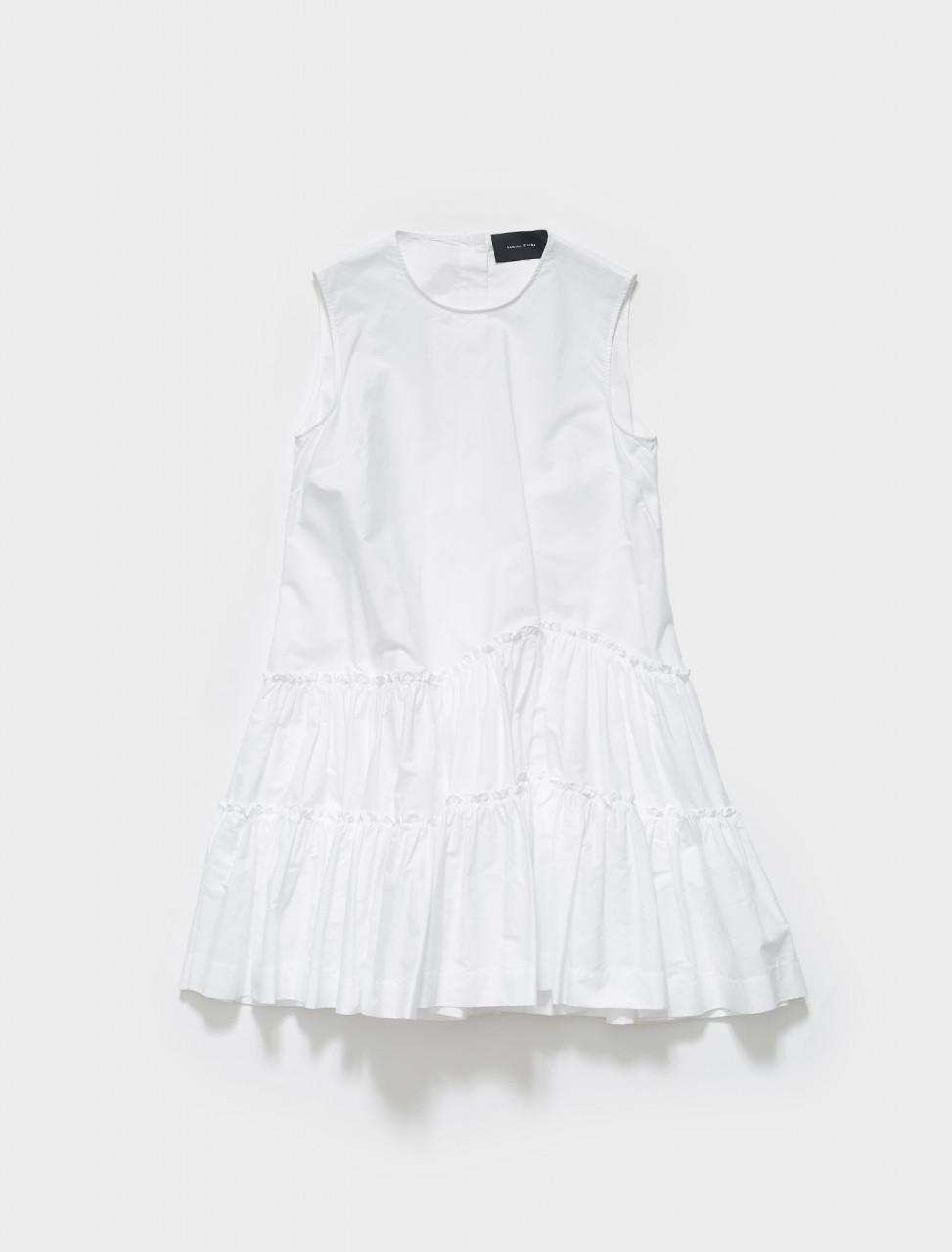 290-3727-0109 SIMONE ROCHA SLEEVELESS SHORT FRILL DRESS WHITE