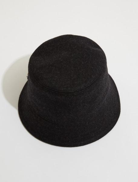 2HC137_1UMT_F0308 PRADA LODEN BUCKET HAT IN ANTHRACITE