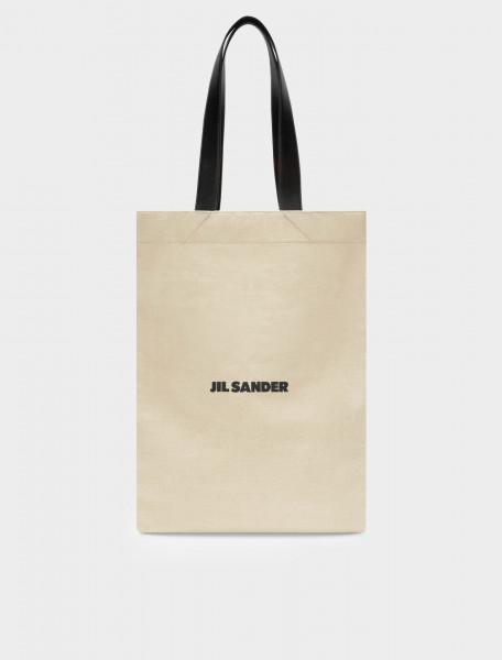 130-JSMR852457-MRB73006-102 JIL SANDER MEDIUM SIZE CANVAS SHOPPER BAG WITH LEATHER HANDLES