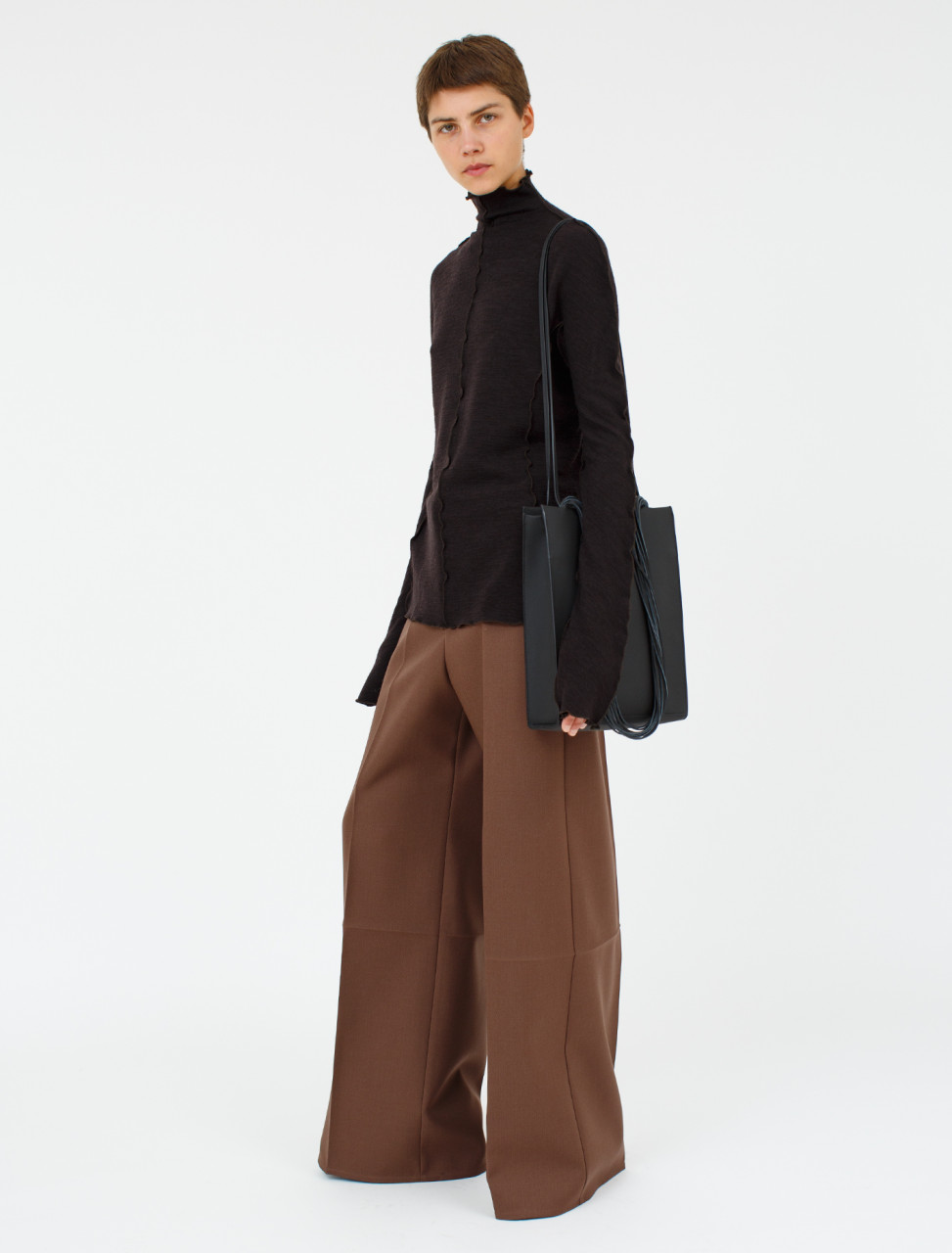 Wool Trouser in Medium Brown