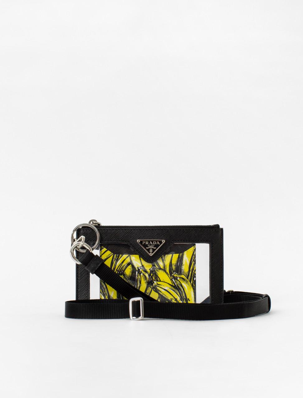 Banana Print Saffiano Leather Plexiglass Wallet