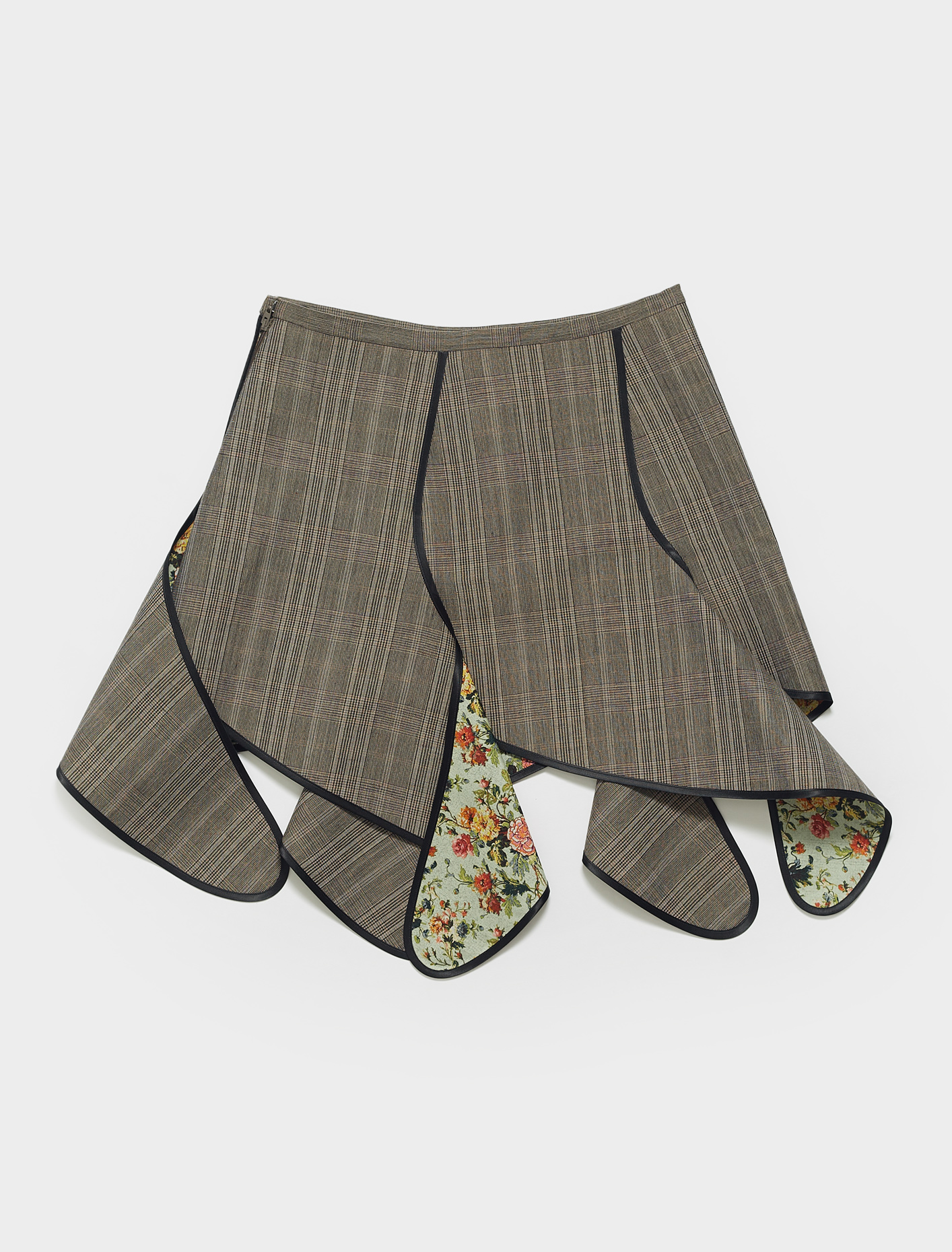 WSKIRT57-S20 Y PROJECT BANANA MINI SKIRT IN BROWN CHECK