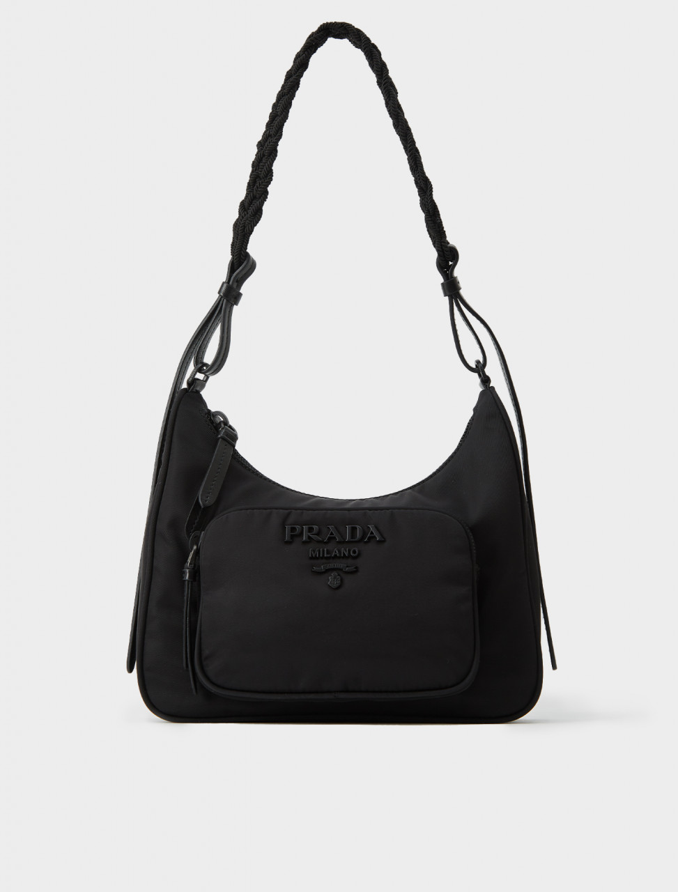 Prada Front Pocket Shoulder Bag in Black