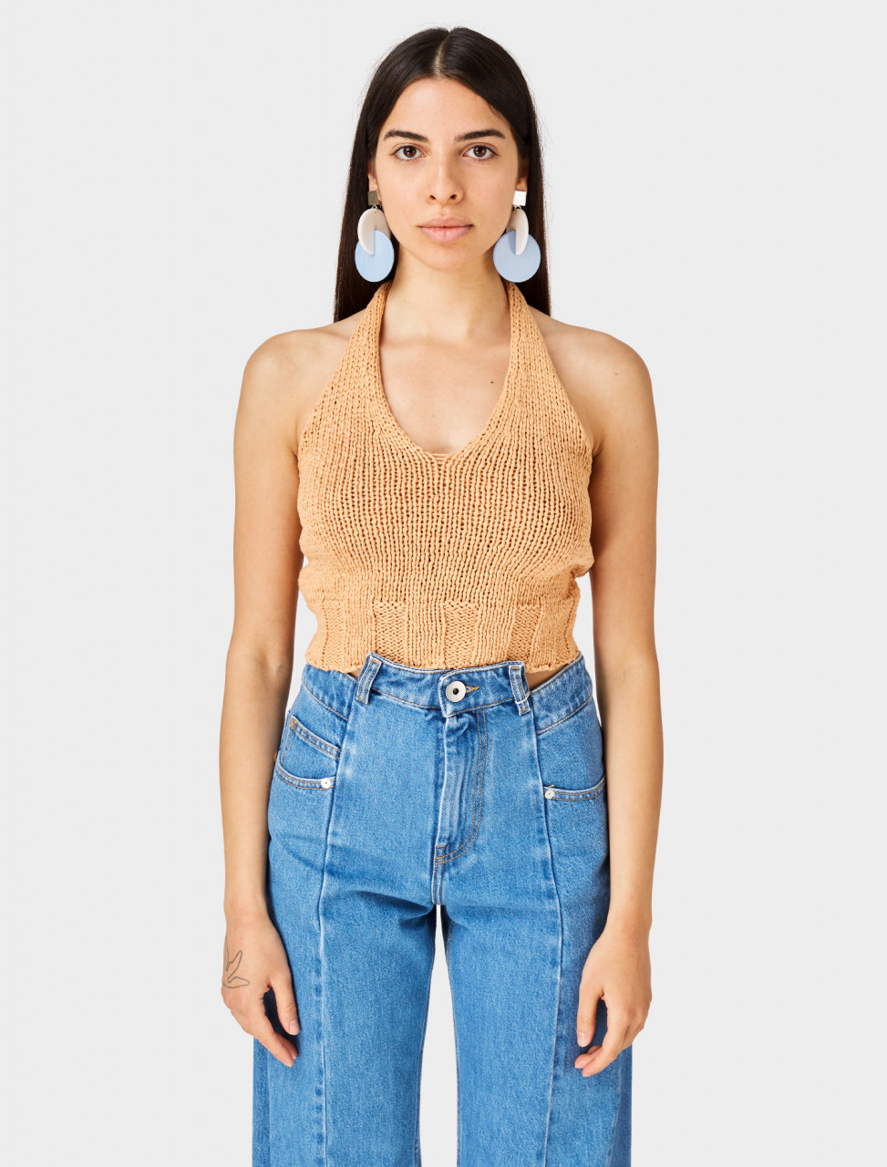 Front view of Paloma Wool Knitted Bien Top in Peach