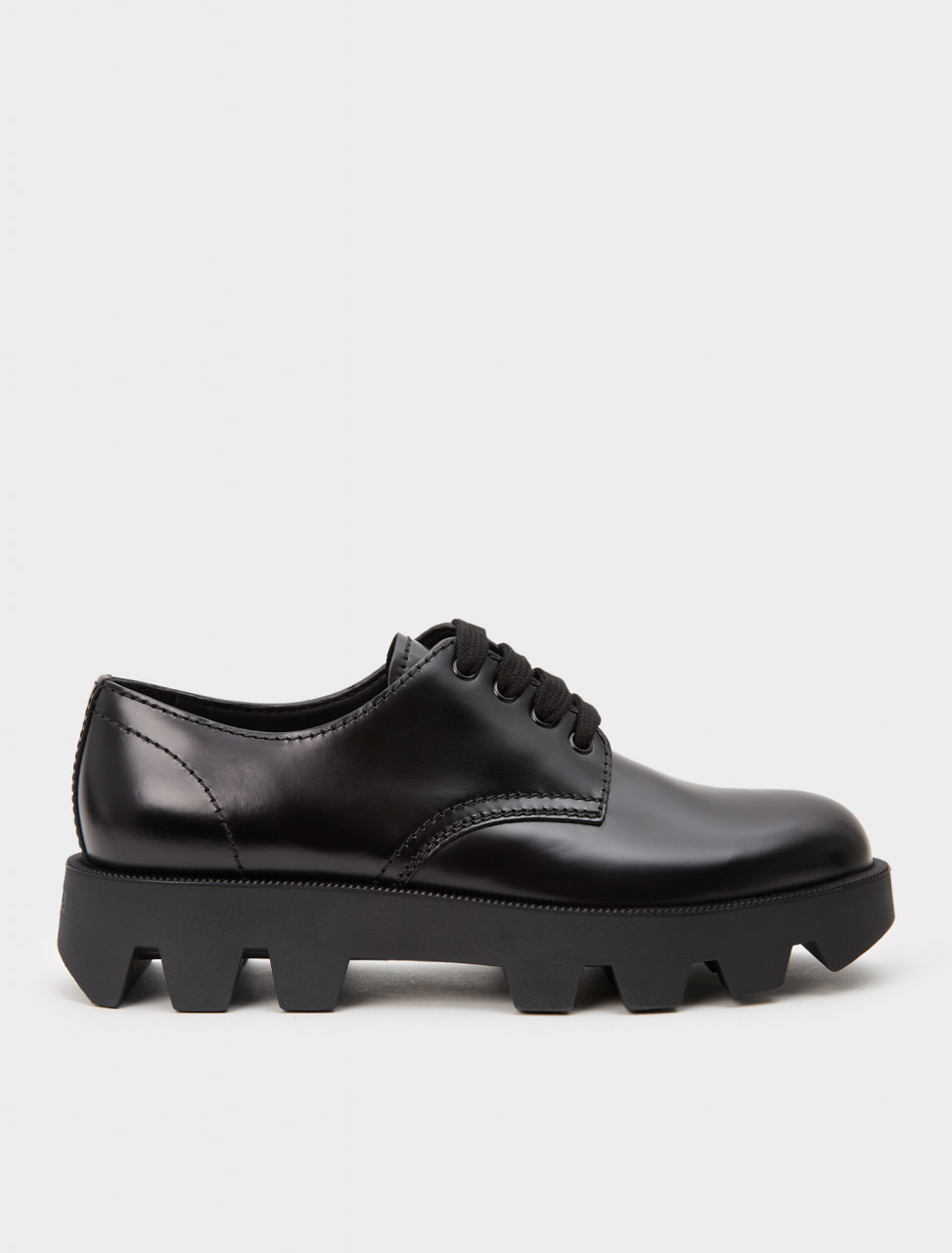 2EE332-F0002 PRADA ROCKSAND BRUSHED LEATHER LACE UP SHOES BLACK