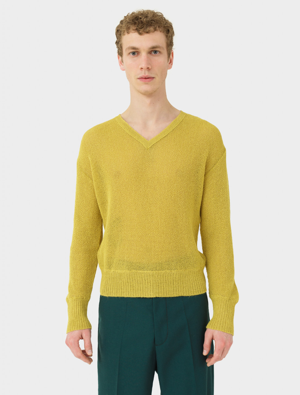 V-Neck Sweater in Yellow