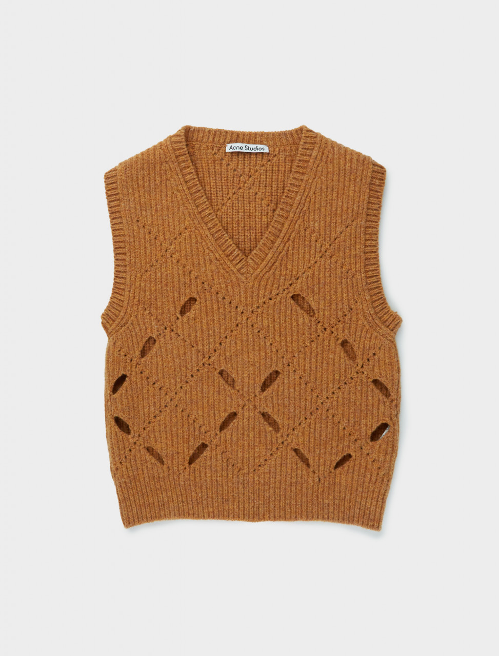 110-A60200-295 ACNE STUDIOS ARGYLE WOOL GILET IN COGNAC BROWN