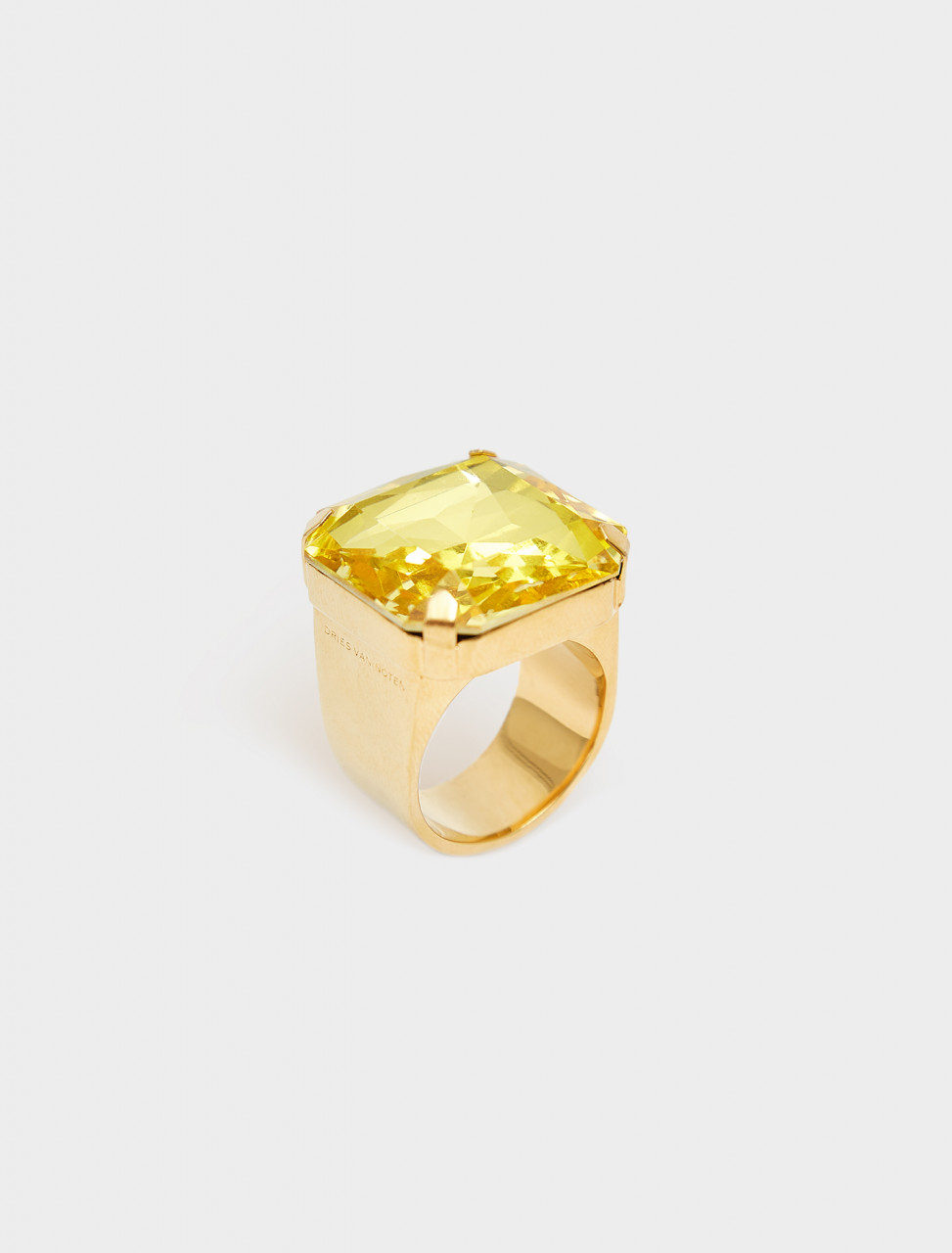 260-202-28801-202 DRIES VAN NOTEN GOLD COLOUR RING WITH YELLOW STONE