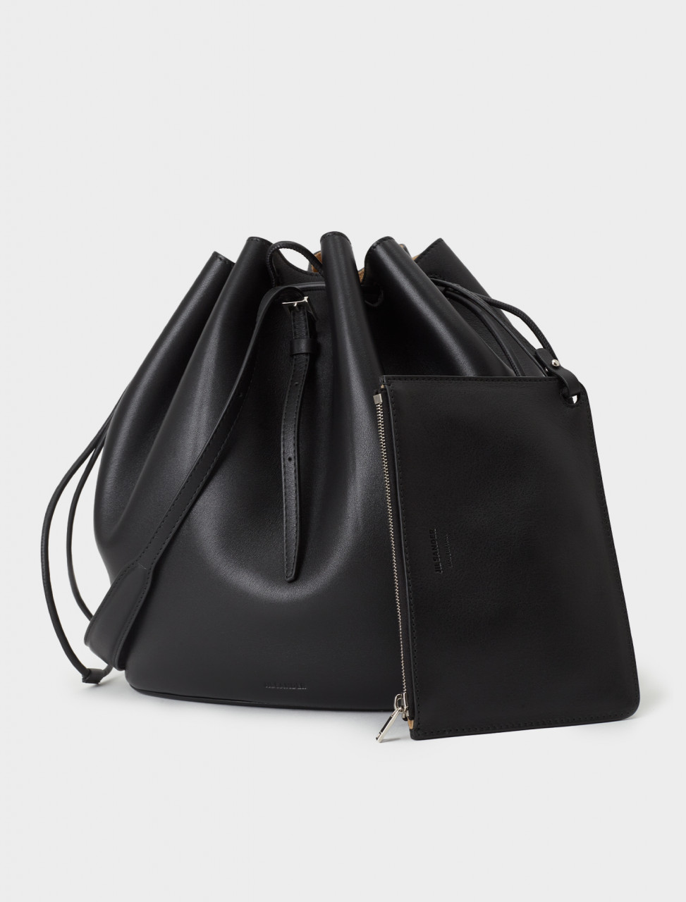 130-JSPR857431-WRB00076V-001 Jil Sander Holster Medium Bucket Bag in Black