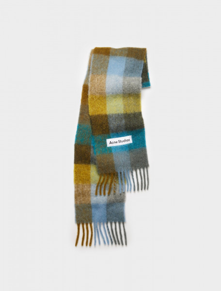 CA0084-CNC ACNE STUDIOS LARGE CHECK SCARF OLIVE GREEN TURQUOISE BLUE