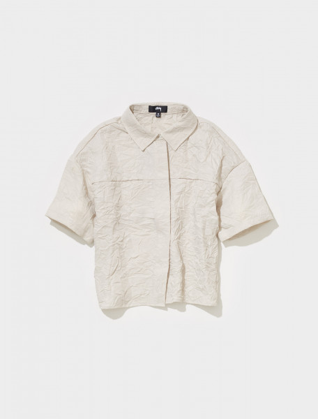 211218 1002 STUSSY RALPHIE CRINKLY WORK SHIRT IN NATURAL
