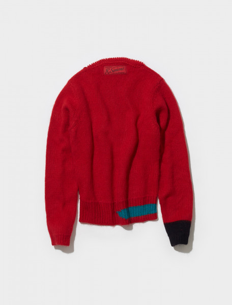 212 M836 50003 3027 RAF SIMONS VINTAGE KNIT SWEATER IN RED & PETROL
