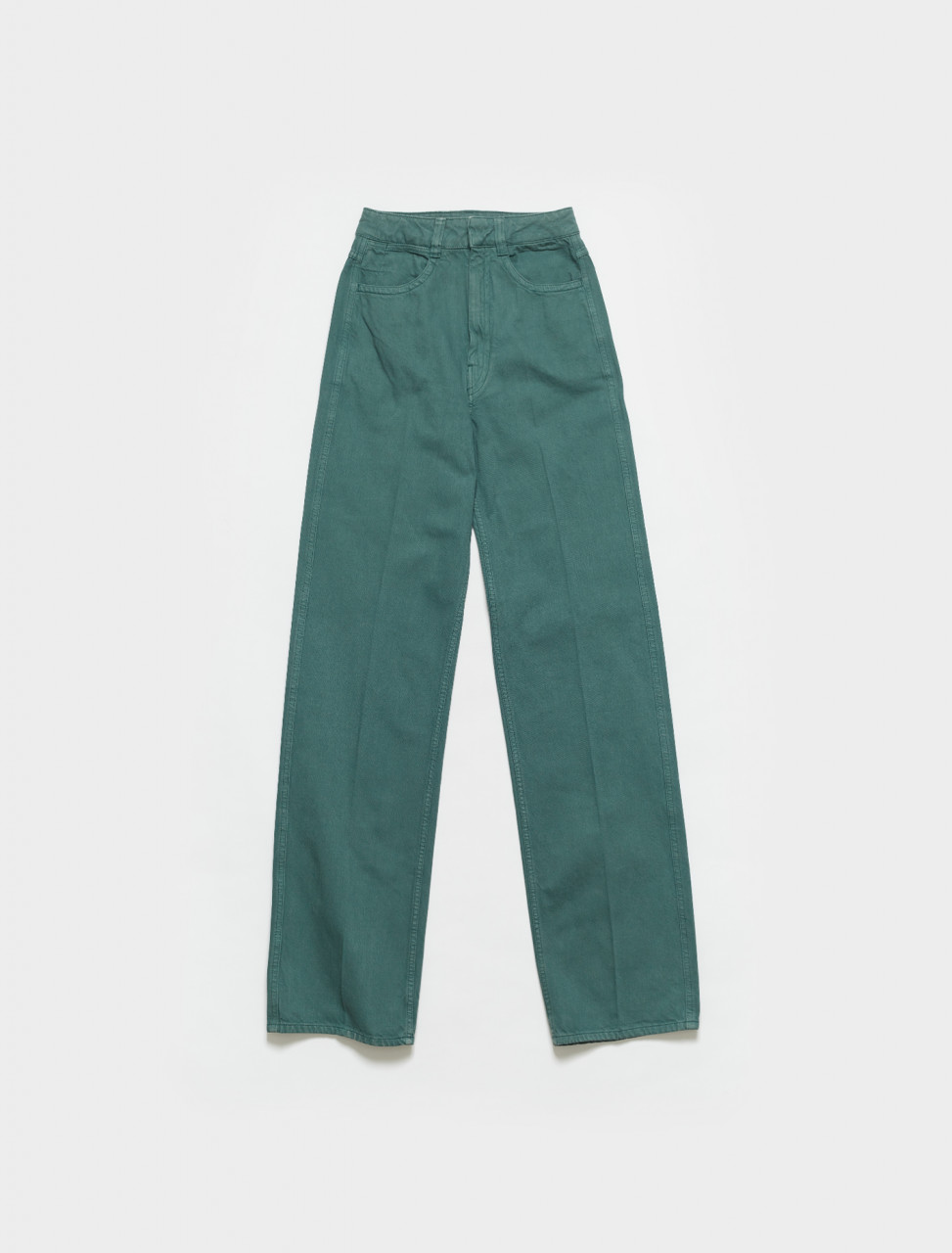 W-211-PA258-LD034-647 LEMAIRE DENIM PANTS IN SILVER PINE GREEN