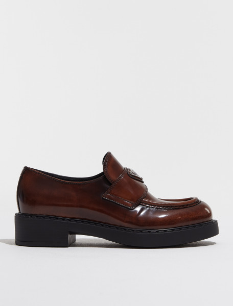1D246M_X6O_F0005 PRADA BRUSHED LEATHER LOAFERS IN TOBACCO
