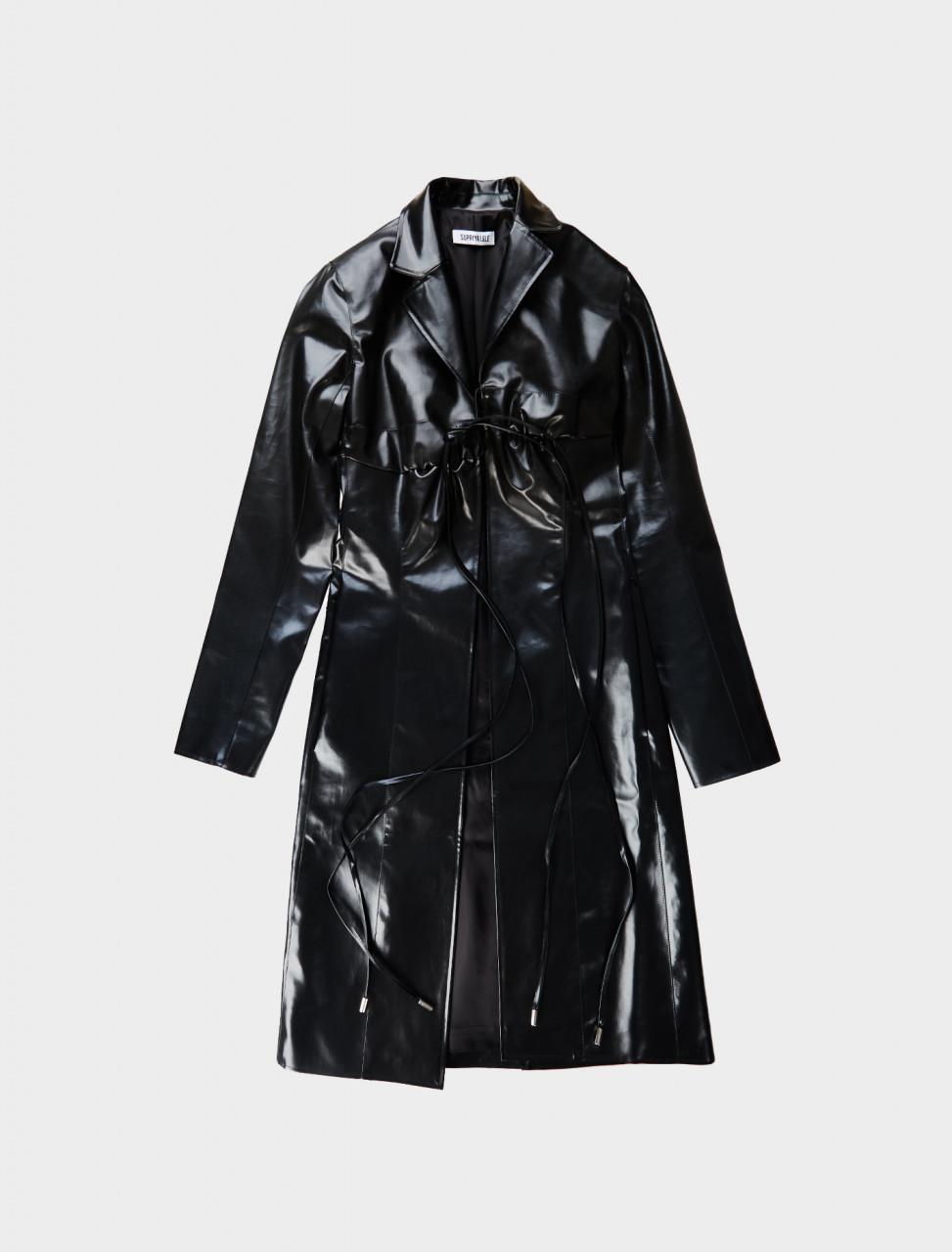 Supriya Lele Rubberised Bra Coat in Black