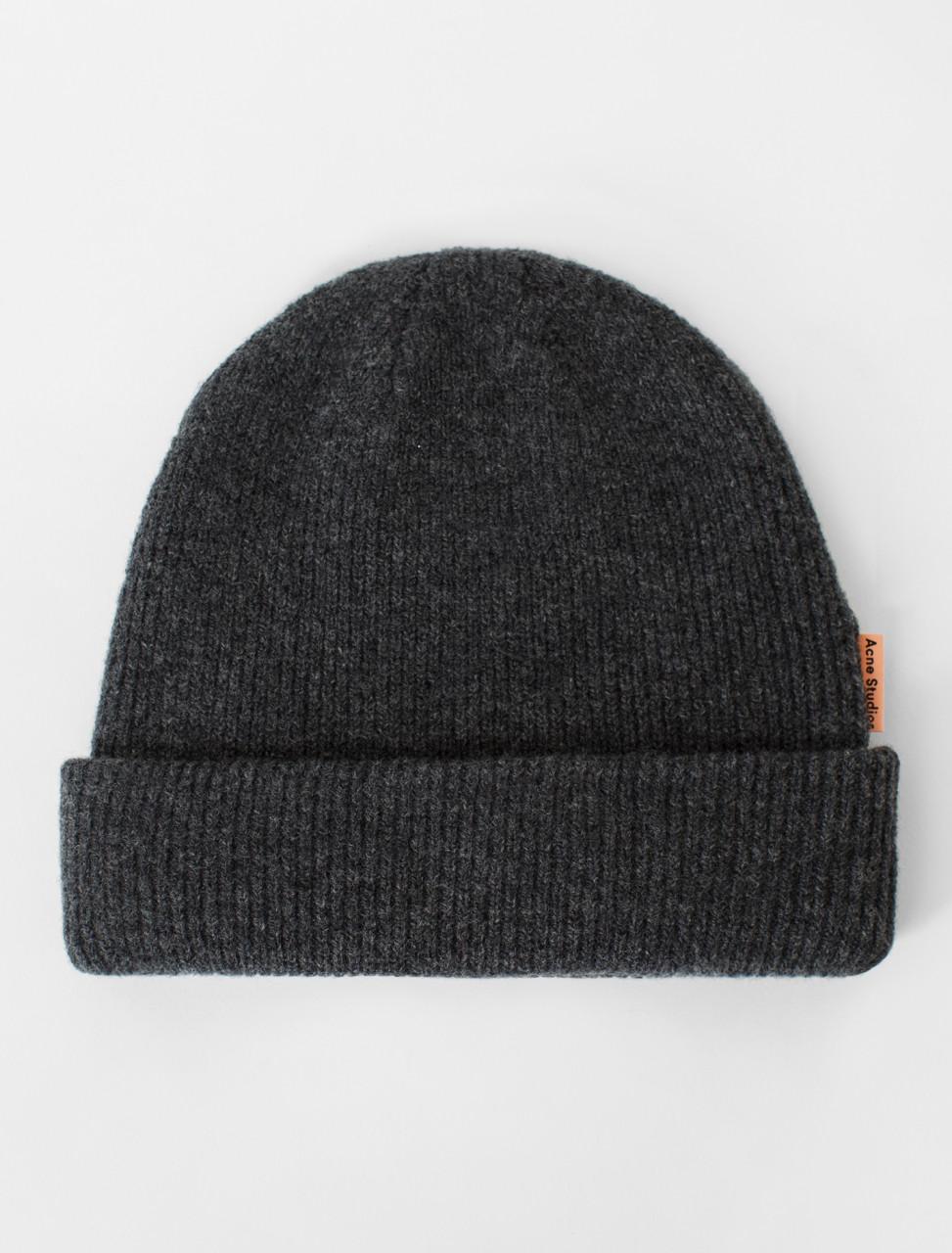Wool Beanie in Dark Grey Melange