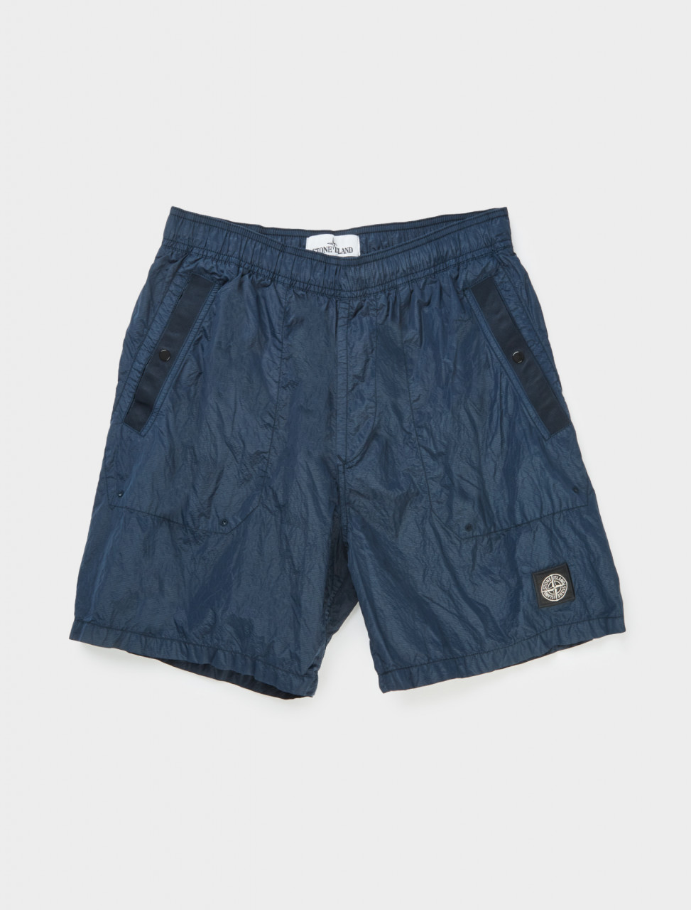 Front detail of Stone Island Nylon Shorts in Blue