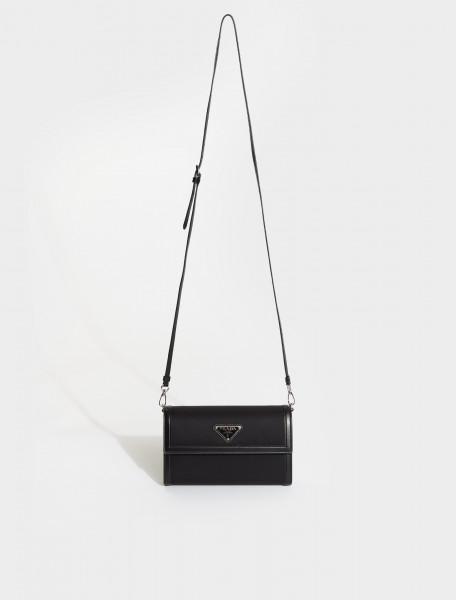 1MA022-F0002 PRADA Wallet with Shoulder Strap in Black
