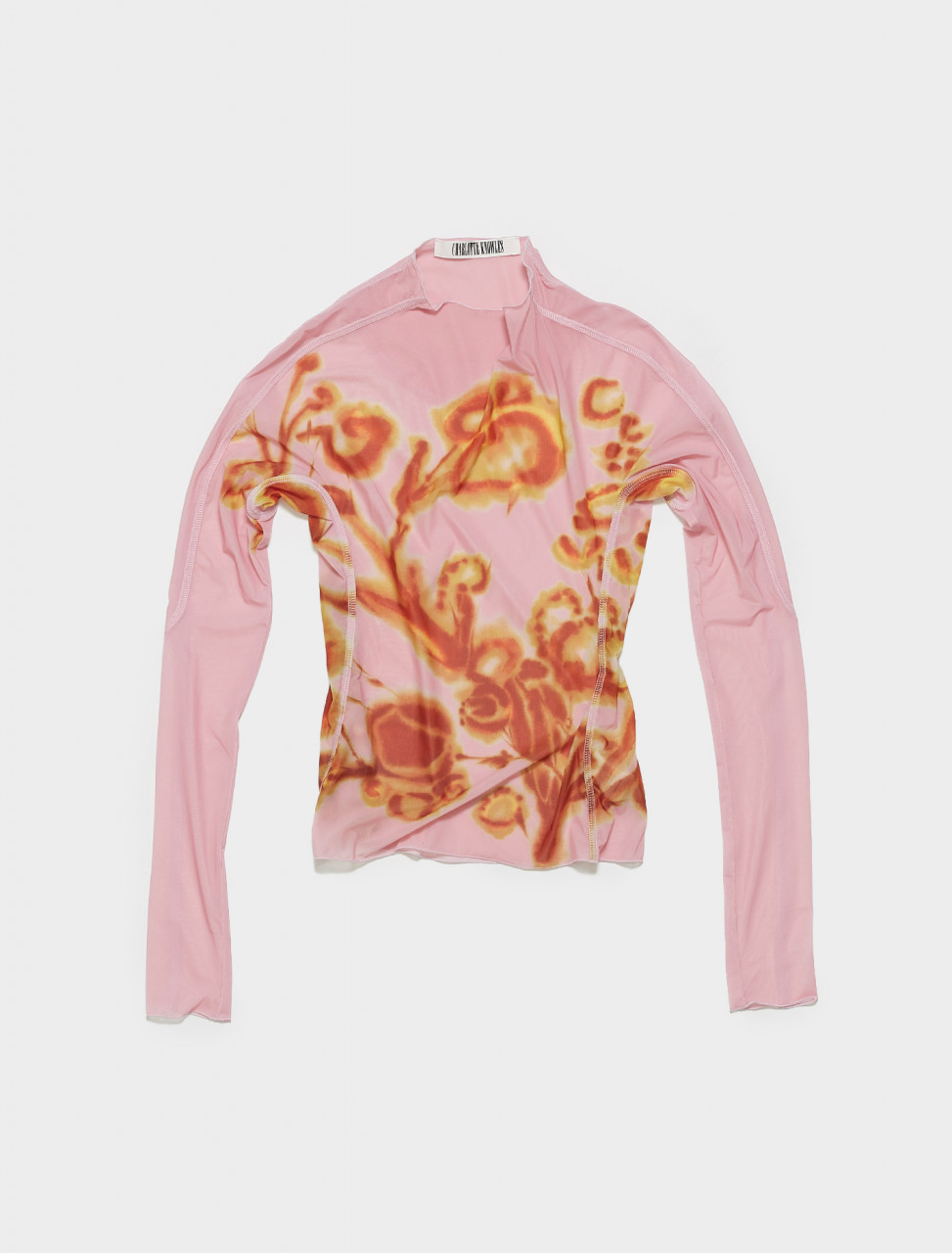 SS21-HT0AMFL-AMFL CHARLOTTE KNOWLES THIN MESH TOP W ANATOMIC CUTTING LINES IN AMBER FLORAL