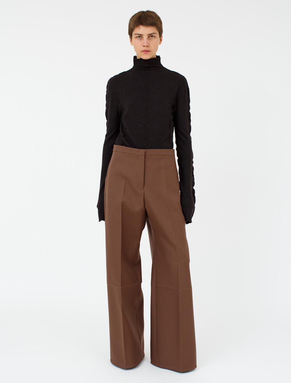 Wool Trouser in Medium Brown