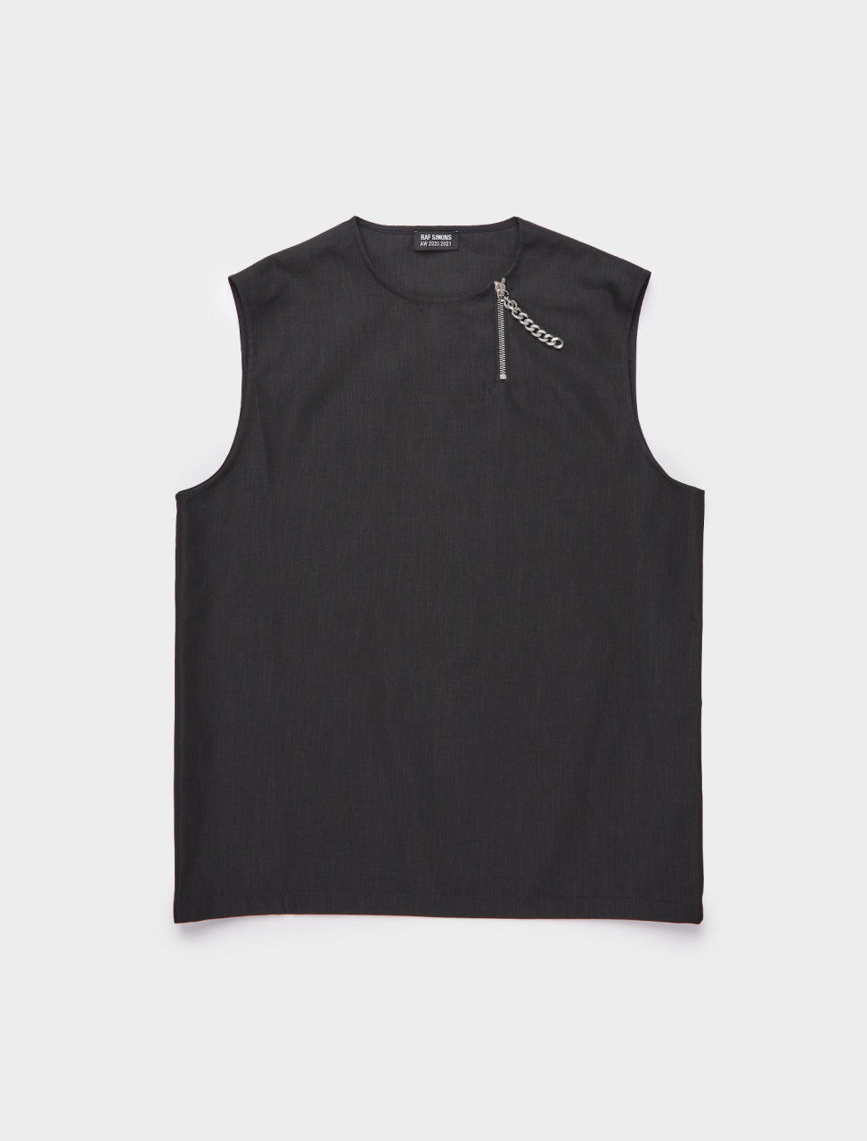 162-202-401A-30006-00099 RAF SIMONS SLEEVELESS TOP W CHAINED ZIP BLACK