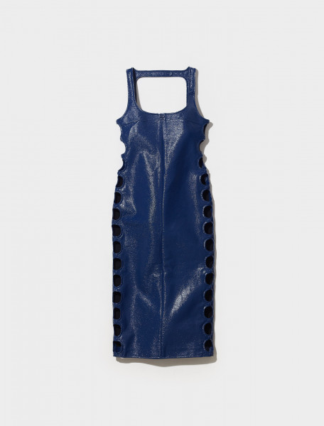 321CRO035VY0003 7061 COURRÈGES DRESS WITH CUT OUT DETAIL IN BLEU 70'S